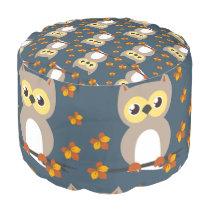 Cute Autumn Owl Pattern Pouf