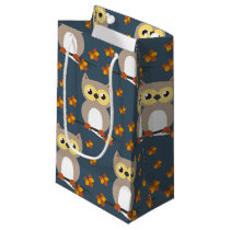 Cute Autumn Owl Pattern Small Gift Bag