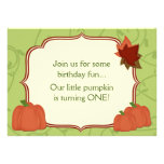 Cute Autumn Pumpkin 1st Birthday Party Invitation