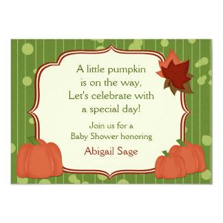 """Cute Autumn Pumpkin Neutral Baby Shower Invitation 4.5"""" X 6.25"""" Invitation Card"""