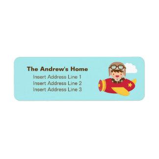 Cute Aviator Boy Airplane Adventure For Boys Label