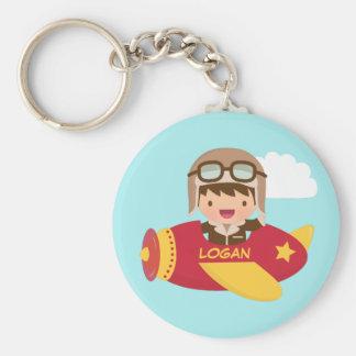 Cute Aviator Boy Airplane Adventure For Kids Keychain