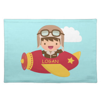 Cute Aviator Boy Airplane Adventure For Kids Placemat
