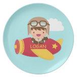 Cute Aviator Boy Airplane Adventure For Kids Plate