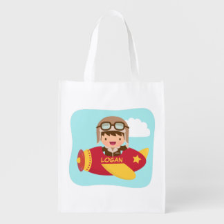 Cute Aviator Boy Airplane Adventure For Kids Reusable Grocery Bag
