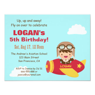 Cute Aviator Boy Airplane Birthday Party 4.25x5.5 Paper Invitation Card