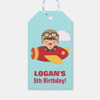 Cute Aviator Boy Airplane Birthday Party Gift Tags
