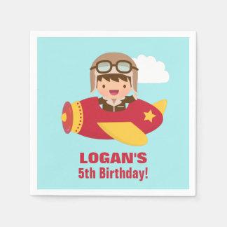 Cute Aviator Boy Airplane Birthday Party Paper Napkin
