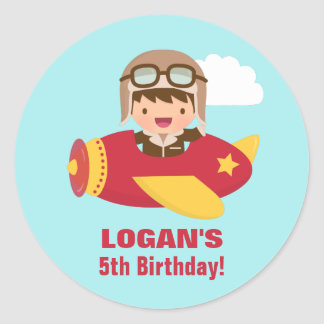 Cute Aviator Boy Airplane Birthday Party Classic Round Sticker