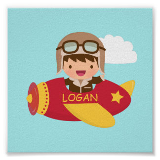 Cute Aviator Boy Airplane Boys Room Decor