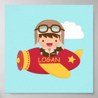 Cute Aviator Boy Airplane Boys Room Decor Poster