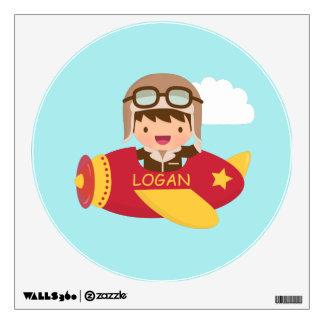 Cute Aviator Boy Airplane Boys Room Decor Wall Sticker