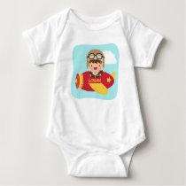 Cute Aviator Boy Airplane For Baby Boys Baby Bodysuit