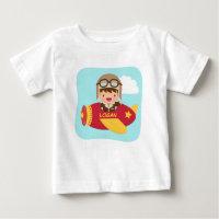 Cute Aviator Boy Airplane For Baby Boys Baby T-Shirt
