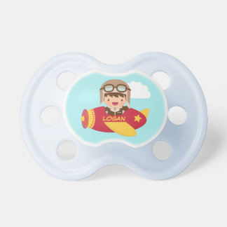 Cute Aviator Boy Airplane For Baby Boys Pacifier
