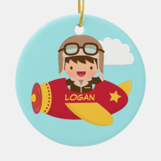Cute Aviator Boy Airplane Kids Room Decor Ceramic Ornament