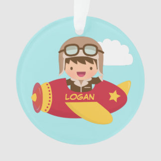 Cute Aviator Boy Airplane Kids Room Decor Ornament