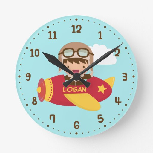 Cute aviator boy airplane kids room decor round wall for Kids room clocks
