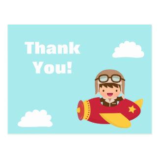 Cute Aviator Boy Airplane Thank You Greeting Postcard