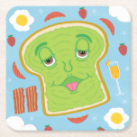 Cute Avocado Toast & Mimosa Sunday Brunch Square Paper Coaster