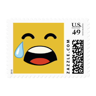 Cute aww don't cry emoji postage