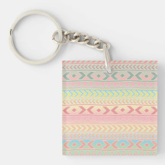 Cute Aztec Influenced Pattern in Pastel Colors Double-Sided Square Acrylic Keychain