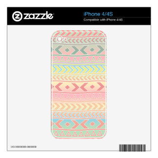 Cute Aztec Influenced Pattern in Pastel Colors iPhone 4 Skins