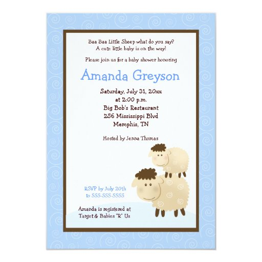 Cute Baa Baa Sheep 5x7 Baby Shower Invite Blue