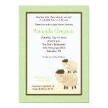 Cute Baa Baa Sheep 5x7 Baby Shower Invite Green