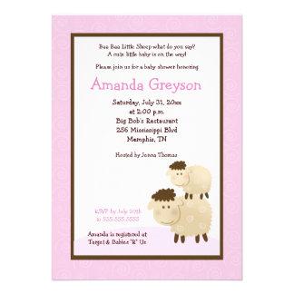 Cute Baa Baa Sheep 5x7 Baby Shower Invite Pink