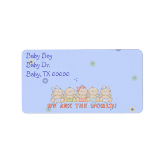 Cute Babies Blue Return Address or Gift Tags! Aver Label
