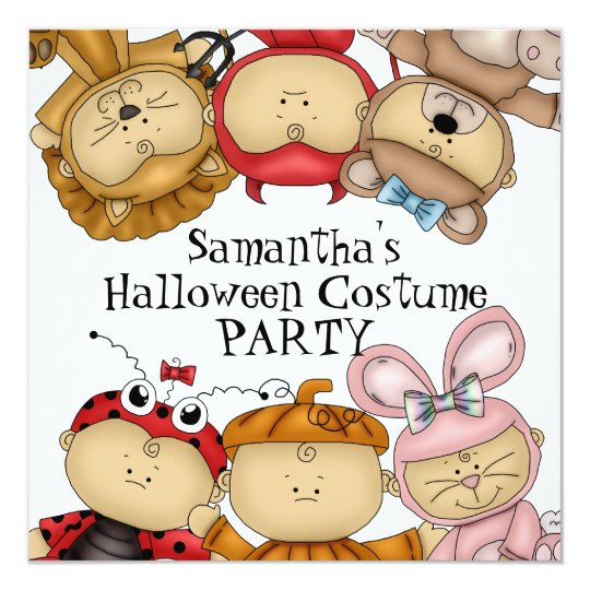 Cute Babies Halloween Costume Party Card
