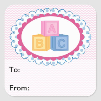 Cute Baby ABC Blocks Gift Tags Square Sticker