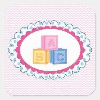Cute Baby ABC Blocks Square Sticker