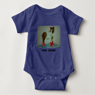 Cute baby all in one with baby pony motif. baby bodysuit