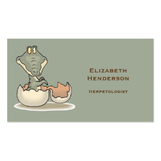 Cute Baby Alligator Cartoon Hatching from Eggshell Business Card