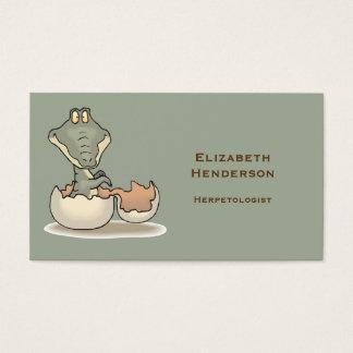Cute Baby Alligator Cartoon Hatching from Eggshell Business Card