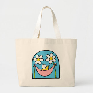Cute Baby and Daisies Large Tote Bag