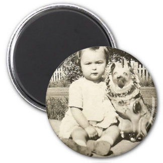 cute baby and her dog magnet