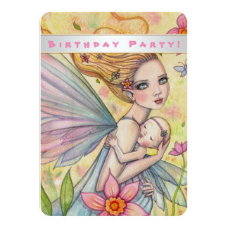 Cute Baby and Mother Birthday Party Invites