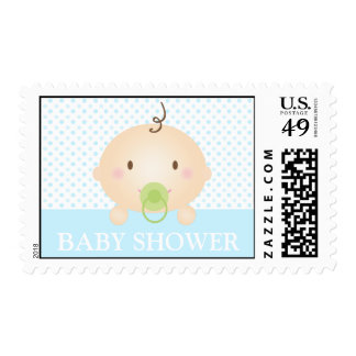 Cute Baby and Polka Dots (Blue) Stamps