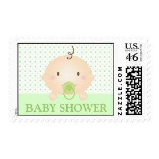 Cute Baby and Polka Dots (Green) Stamps