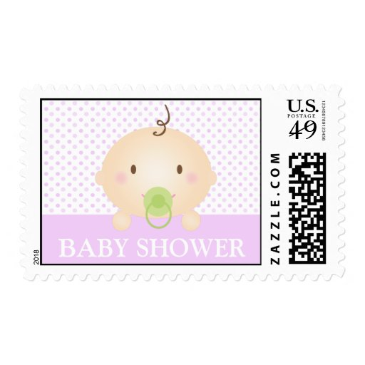 Cute Baby and Polka Dots (Purple) Postage Stamps