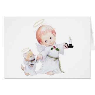 Cute Baby Angel And Cat Card