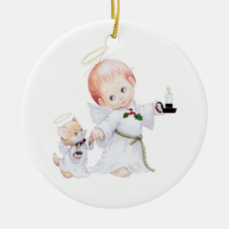 Cute Baby Angel And Cat Ceramic Ornament