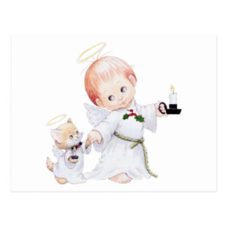 Cute Baby Angel And Cat Postcard