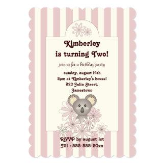 Cute Baby Animal Girl Birthday Pink Invitation