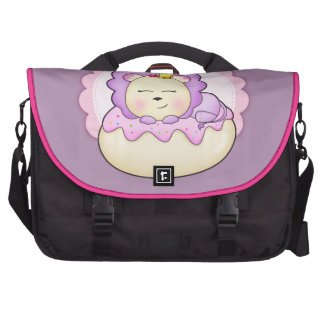 Cute baby animal lion on a pink icing Donut Bag For Laptop