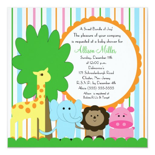 Cute Baby Animal Neutral Baby Shower 5.25x5.25 Square Paper Invitation Card