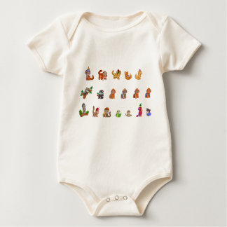 Cute Baby Animal Parade - Organic Baby Bodysuit